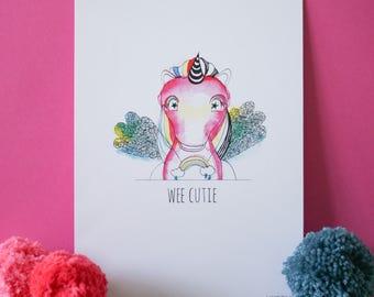 Wee Cutie (Unicorn) A4 print