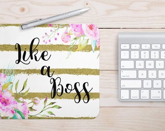 Like a Boss Mouse Pad | Gold Mouse Pad, Mouse Pad Quote, Floral Mouse Pad, Cute Mouse Pad, Office Supplies, Desk Decor, School Supplies