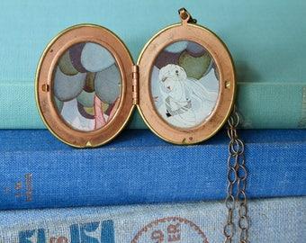 Handmade Locket Necklace, Vintage Brass Locket, Vintage Vogue Cover Illustration