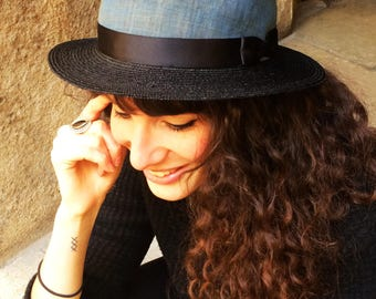 Straw summer hat black and blue Size 56