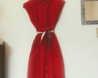 Vintage '80s Red Belted Dress - Townhouse Petites - Free Shipping!