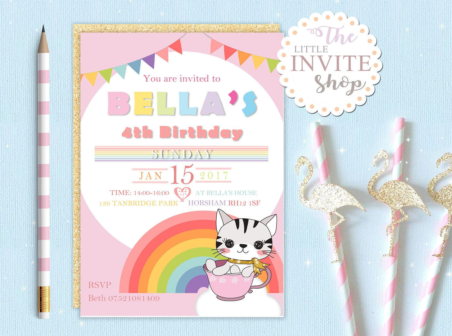 Girls Cute Rainbow Kitty Cat Invite | Birthday Party Invitation ...