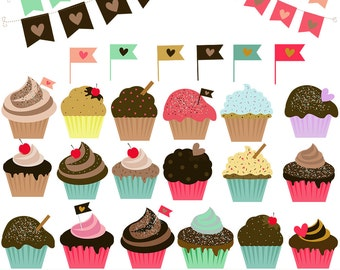 Cupcakes clipart and pennats