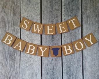 baby shower boy banner, sweet baby boy banner, baby shower sign, baby shower decorations, baby shower photo props, baby boy sign, boy banner