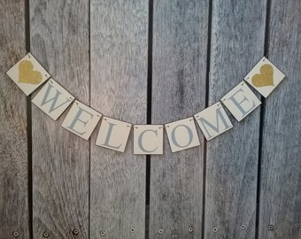Welcome wedding banner, welcome baby banner, welcome wedding sign, welcome sign, welcome banner, party decorations, welcome home banner