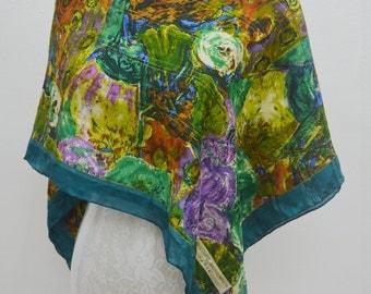 FREE SHIPPING!!! Stunning Jean-Louis Scherrer Vintage Jean-Louis Scherrer Paris Floral Art Theme 100% Silk Scarf
