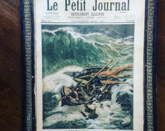 Antique French newspaper. Le Petit Journal. Supplément illustré. Sea. Flowers. Paris. Color Illustrations. Ephemera. XIXe.