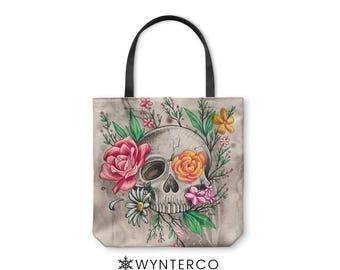 TOTE BAG - Skull Tote Bag - Canvas tote bag, Skull Flowers Watercolor Tote Bag, Skull shoulder carry bag, Yoga Tote Bag Wynterco Rose tote