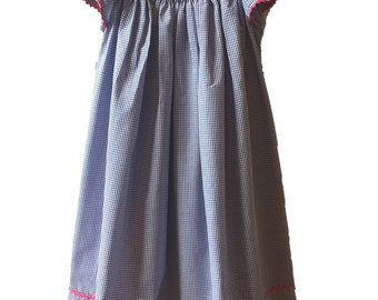 Pink Cherry Smocked Bishop Dress - Blue and White Gingham Smocked Dress