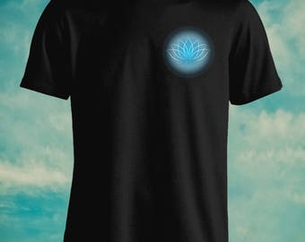 Blue Lotus Flower Pocket Print For Adult 100% Unisex Cotton Graphic T Shirt Tees Mens Womens Teens Apparrel Gift Idea