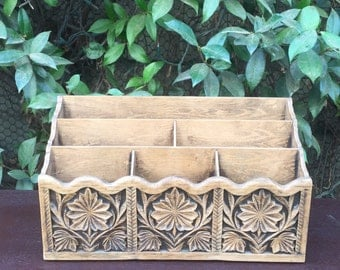 Vintage Carved Faux Wood Mail Sorter by Lerner