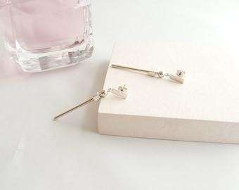 Silver Bar Dangle Earrings,Silver Rectangle Bar Earrings,Bar Dangle Earrings,Circle Drop Dangle Earrings,Rectangle Drop Earrings,Minimalist