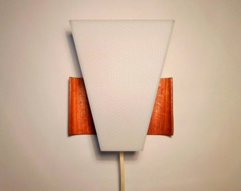 Retro 70's Scandinavian teak wood sconce / fixture - wall lamp