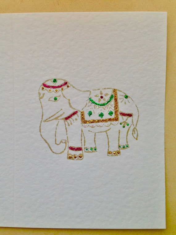 Handmade Greeting Card, Elephant Card, Indian Elephant, Unique Card, Multicoloured Design, Glittery Card