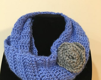 Light Blue Infinity Scarf w/ Crochet Rose