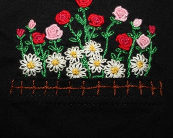 Pocket Flowers Embroidered T - Shirt