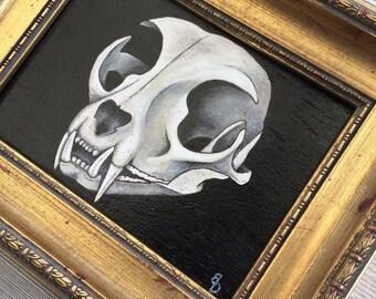 cat skull crane de chat painting peinture originale cabinet de curiosité cadre doré vintage