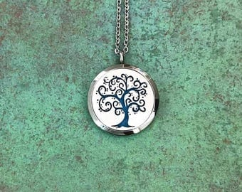 30mm Stainless Steel Tree Of Life Essential Oil Diffuser Necklace, Aromatherapy, Homeopathy, Natural Healing, Tree Of Knowledge
