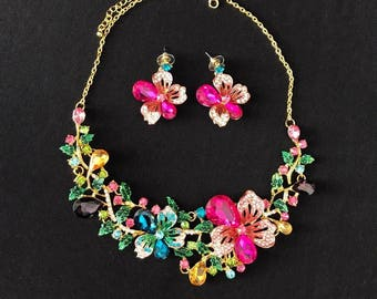 Handmade Rhinestone Flower Necklace & Earring Set, Floral, Bib, Statement Necklace, Colorful, Shiny, Spring, Special Occasion, Gold, Pink