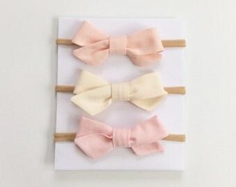 Pink  Baby Headband // Tiny Bow Headband // Newborn Headband // Beige  Headband