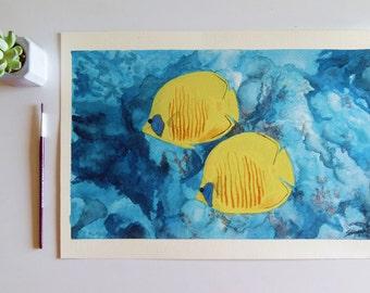Tropical fish into the sea WATERCOLOR PRINT - coral reef - watercolor fish - sea life - sea art - wall art - fish art - coral reef decor