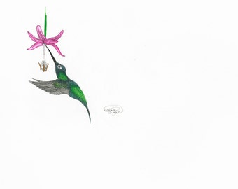 Hummingbird (Print of Ink Drawing)