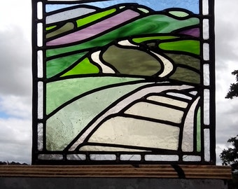 Stained glass panel of Malvern Hills, Worcestershire. Perfect gift for a Malvern fan.