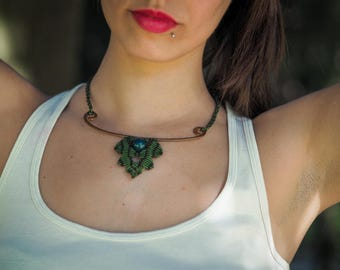 """Macramé and Copper Leaf necklace """"Necklace"""" Leaf """"-Macrame and Copper"""