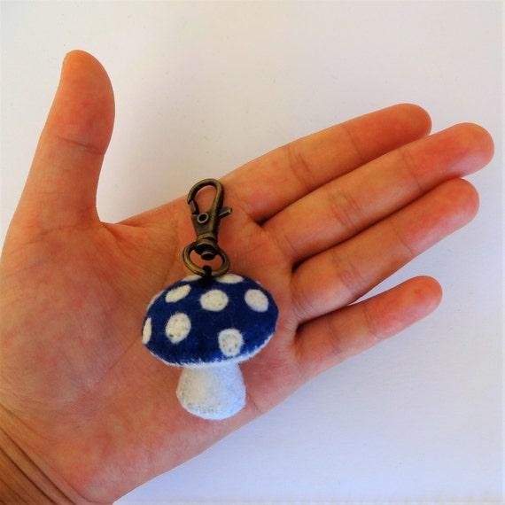 Cobalt Blue Mushroom Keychain