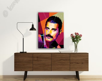 Tribute To Freddie Mercury FRAMED ART personalized by you gift for music lovers pop art canvas gift for men for and gift idea for musicians