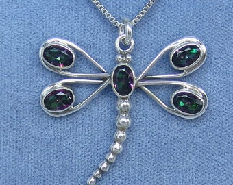 Mystic Topaz Rainbow Topaz Dragonfly Necklace - Sterling Silver - P181011 - Free Shipping