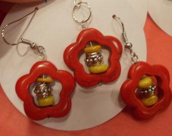 Red stone flower earrings