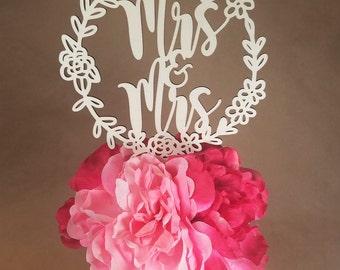 Mrs. & Mrs. Wedding Cake Topper - wood   Mrs Wooden Marriage Rustic Engagement Shower Wooden Bridal LGBT