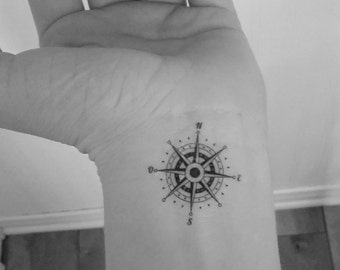 2 temporary tattoo compass / compass / wrist tattoos / tattoo / fake tattoo / temporary tattoo / black