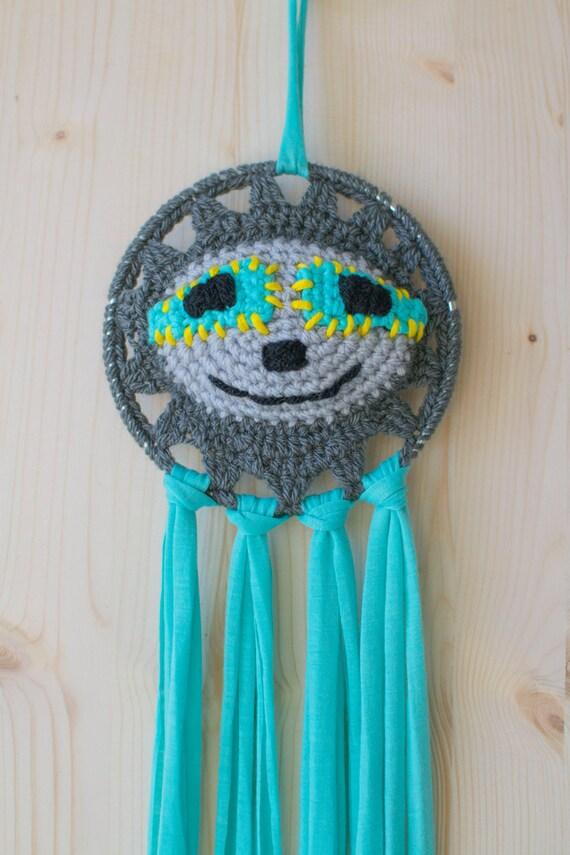 Disco Sloth Crocheted Dreamcatcher