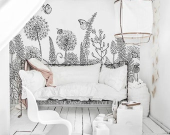 Sketch flowers removable wallpaper,  Black and white floral wall mural,  Wall Decal Art,  Home Decor,  Wall murals   #66