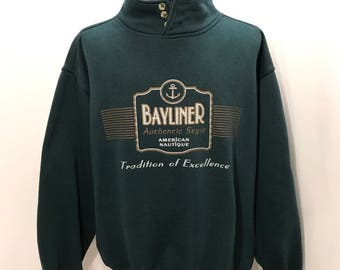 90s Gear for Sports BAYLINER Authentic Style American Nautique Tradition of Excellence BOATING Sweatshirt Mens Size L/XL
