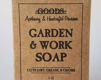 Garden and Work Soap, All Natural Soap, Glycerin Soap