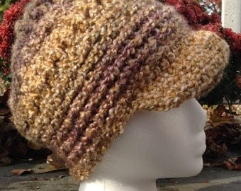 Crochet Newsboy Hat, Women's Hat,Women's Winter Hat, Women's Accessories, Brimmed Beanie, Fall Fashion, Gifts for Her, Free Shipping