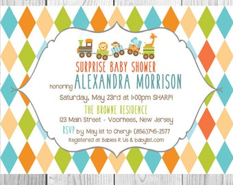 Toy Train Baby Shower Invitations - Set of 10, Printed Cards, Animals, Toys, Cute, Diamonds, Fun, Whimsical, Colorful, Giraffe, Lion, Monkey