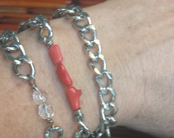 Chain Wrap Bracelet with Red Coral