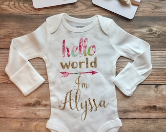 Hello World Custom Coming Home Outfit, Gold Glitter Floral, Newborn baby girl, personalized bodysuit, baby shower gift, hello world name