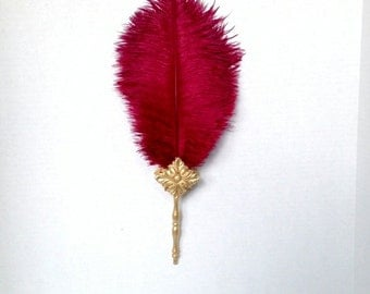 Renaissance Ostrich Feather Fan Ten Plume Tower Burgundy Red and Gold- Ready to Ship