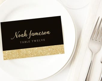 Black And Gold Wedding Escort Cards Place
