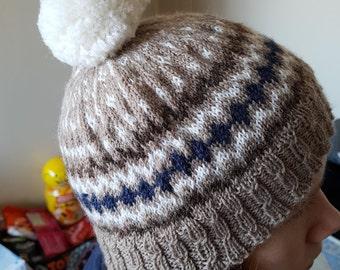Handknitted, unique design Ladies Beanie Hat