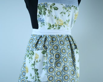 Handmade Vintage Inspired Apron Fully Lined (reversible) with Pockets - Cornflower Blue/Lemon Yellow Floral