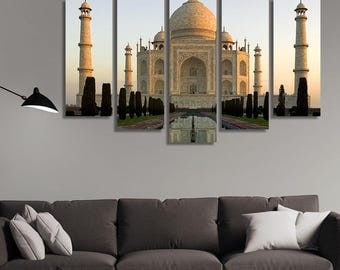 LARGE XL Taj Mahal at Dawn Canvas Print Marble Mausoleum in Agra, Uttar Pradesh, India Print Wall Art Print Home Decoration - Stretched