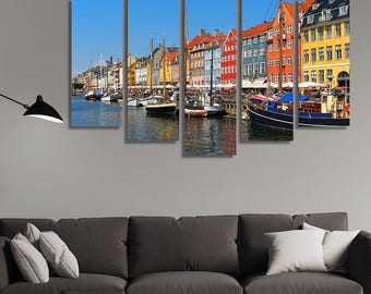 LARGE XL Copenhagen, Nyhavn Canvas Print Boats Urban Canal Canvas Daytime Colorful City Canvas Wall Art Print Home Decoration - Stretched