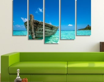 LARGE XL Old Boat in Paradise Canvas Tropical Beach Island Wall Art Print Home Decoration - Framed and Stretched - 4004