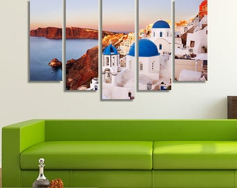 LARGE XL Oia at sunrise  in Santorini Canvas Art, Greece. Blue Domes in Santorini Canvas Wall Art Print Home Decoration - STRETCHED